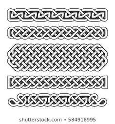 Celtic knots vector medieval borders set in black and white Premium Vector Celtic Symbols, Celtic Art, Celtic Knots, Irish Celtic, Arte Viking, Viking Art, Celtic Band Tattoo, Arm Band Tattoo, Rune Tattoo