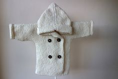 Hand Knitted Baby Hoodie with Pixie Hood / Knit Baby Peacoat / Knitted Baby Cardigan with Elbow Patches/ Knit Baby Jacket with Elbow Patches by RocoKnitwear on Etsy
