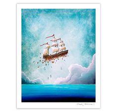 Hey, I found this really awesome Etsy listing at https://www.etsy.com/listing/183764159/flying-ship-nautical-nursery-fantasy-art