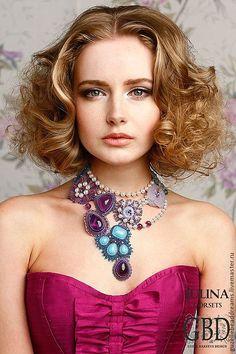 Купить Винтажная Роза - сиреневый, бирюзовый, голубой, лиловый, цветы, цветочное колье, аметист, жемчуг
