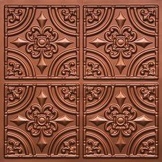 "Chamonix - Faux Tin Ceiling Tile - Glue up - 24""x24"" - #205 copper colored"
