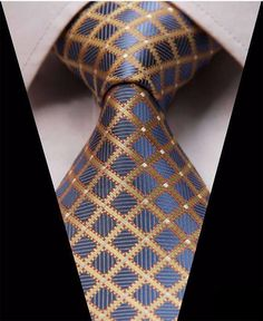 Forever Diamonds Silk Tie and Pocket Square Tie And Pocket Square, Pocket Squares, Diamond And Silk, Cool Ties, Wedding Ties, Floral Stripe, Yellow Stripes, Blue Yellow, Jacquard Weave