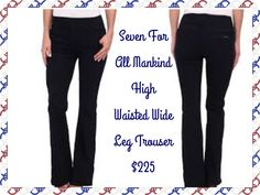 Seven For All Mankind Fashion High Waist Wide Leg Trouser in Lilah Blue Black 2:  A beautiful and stunning dark indigo wash made on amazing Italian denim with a black weft and incredible stretch and recovery. With subtle whiskers and perfectly placed sanding, this wash flatters and slims.   8.25 oz. Stretch Denim  74% Cotton, 24% Nylon, 2% Spandex  Machine Wash Cold  Made in the U.S.A.  Available Size 25-29