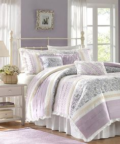 Madison Park Dawn 6 Piece Duvet Set In Purple Floral Print Pattern:  Furnishings