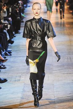 I love the design of this leather shirt.  #YSL #Paris #FashionWeek
