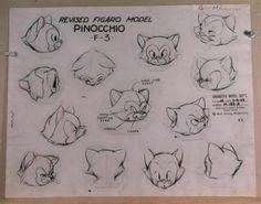 LOT OF 11 PINOCCHIO PRODUCTION MODEL SHEETS : Lot 2228 Funny Drawings, Disney Drawings, Animal Drawings, Figaro Disney, Disney Character Sketches, Principles Of Animation, Cat Anatomy, Walt Disney Characters, Estilo Disney