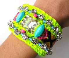 OOAK Rhinestone Friendship Bracelet Neon -Ibiza Girl-