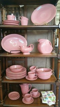 Pink vintage pottery/dinnerware for the prettiest tea party. #shelves_decor_pink