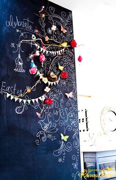 chalkboard wall- my aunt let her son paint a whole wall with chalk board paint. i am tempted to do the same with the boy& room Chalk Wall, Chalkboard Paint, Chalk Board, Chalkboard Quotes, Blackboard Wall, Christmas Chalkboard, Chalk It Up, Noel Christmas, Xmas