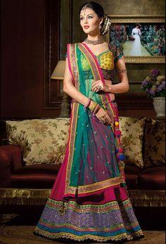 Stunning Rani Pink Banarasi Silk #Lehenga #Choli