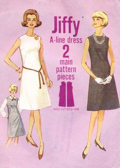 1960s A Line Shift Dress Pattern Simplicity Sewing by CloesCloset, $12.00