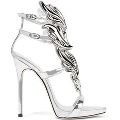Shop for Strass Buckle Leather Sandal, Bianco by Giuseppe Zanotti at ShopStyle. Metallic High Heels, Metallic Sandals, Leather High Heels, Metallic Leather, Leather Sandals, Ankle Strap High Heels, Ankle Wrap Sandals, Strappy Sandals Heels, Strap Sandals