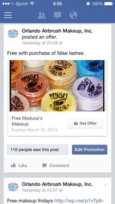 Do you follow is on FaceBook? If not, you're missing out on some offers! To be kind, repost this photo, tag us, hashtag #OrlandoAirbrushMakeup #OAMOffers and we will honor the same offer to you now through 03/15/2014. One free Medusa's Makeup eye dust with purchase of lashes, while supplies last. Cannot be combined with any other offer. One per customer, per order. Subject to limitations, exclusions, restrictions, and conditions.