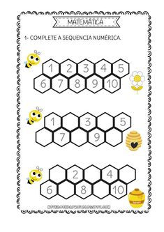 Kindergarten Math Worksheets, Preschool Math, Worksheets For Kids, Bee Activities, Worksheet Maker, Birthday Charts, English Lessons For Kids, Bee Theme, Math For Kids