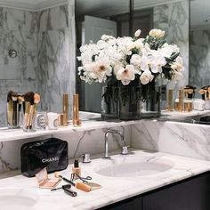 """""""Here you'll be able to inspire yourself about using Marble Bathroom Designs on your projects. Black rose gold and marble bathroom. Bathroom Goals, Gold Bathroom, Bathroom Interior, Bathroom Ideas, Bathroom Inspo, Marble Bathrooms, Bathroom Flowers, Bathroom Designs, Marble Interior"""