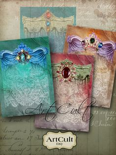 CHARMING GLAMOUR  Digital Collage Sheet Printable by ArtCult, $4.90