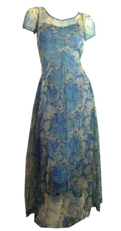 Dreamy Watercolor Blue Floral Mesh Gown and Slip Dress, circa 1930s.