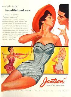 Jantzen Swimwear, 1950s vintage bathing suit ad.