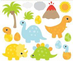 dinosaur clip art clipart volcano sun tree - Dinosaur Clip Art - BUY 2 GET 2 FREE Baby Dinosaurs, Cute Clipart, Dinosaur Birthday Party, Animal Drawings, Party Planning, Crafts For Kids, Stationery, Clip Art, Prints