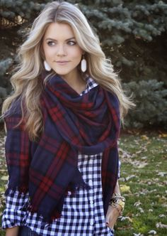 Tons of cute ways to wear plaid scarfs.