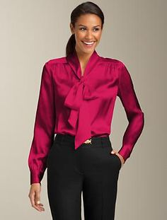 Talbots - Silk Charmeuse Tie-Neck Top | New Arrivals | Woman   in jazz pink...
