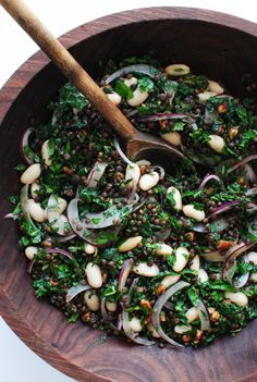 Lentil, Kale and White Bean Salad - Bev Cooks