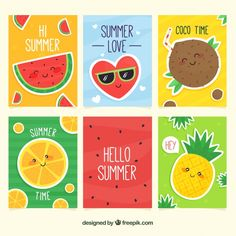Summer cards collection with cute cartoons Free Vector Mini Canvas Art, Cute Canvas, Summer Painting, Diy Painting, Tarjetas Diy, Eid Crafts, Canvas Art Quotes, Summer Art, Summer Beach