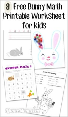 9 Free bunny math printable worksheets for kids, counting, number, color by the sum, number maze, and more. Fun math activities for kids around Easter and any time of the year.