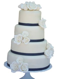 4 Tier Navy & White Wedding Cake with White Gumpaste Roses Rose Cake, Gum Paste, Navy And White, Red Roses, Cake Ideas, Cake Toppers, Wedding Cakes, Wedding Ideas, Weddings