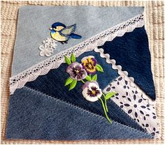 I finished the last fourteen squares for my denim crazy quilt!                                                 I have the backing fabric - n...