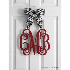 Monogram Door Hanger - Hanging Monogram Initials in Red Script Letters with Black and White Chevron  sc 1 st  Pinterest & 20