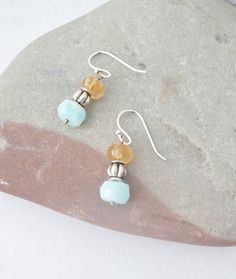 These would be great for summer... blue opals with citrine and silver. Dainty and fabulous!