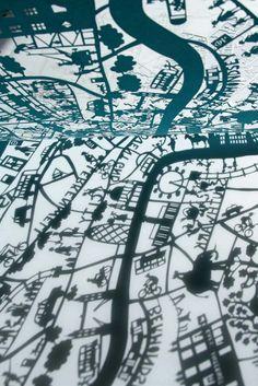 Papercut map of London by Famille Sumemrbelle