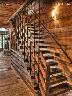 17 Splendid Rustic Staircase Designs To Inspire You With Ideas Modern Staircase Designs ideas inspire Rustic Splendid Staircase Staircase Railing Design, Rustic Staircase, Open Staircase, Stair Handrail, Staircase Ideas, Stair Design, Rustic Deck, Rustic Modern, Hardwood Stairs