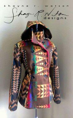 Shayne R Watson Navajo Designs, Brown Pendleton Jacket. Boho Fashion, Winter Fashion, Fashion Outfits, Womens Fashion, Cowgirl Fashion, Western Outfits, Western Wear, Pendleton Jacket, Pendleton Wool