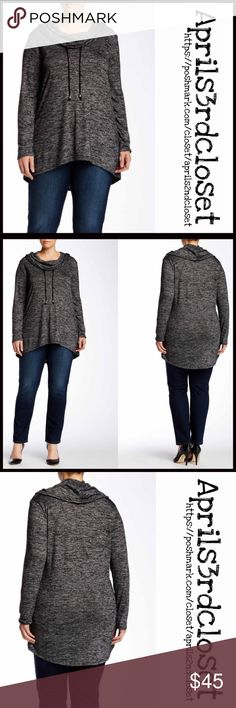 "Tunic Pullover NEW WITH TAGS  RETAIL PRICE: $78 Tunic Pullover  * Relaxed slouchy fit   * Incredibly soft, stretch-to-fit T-Shirt fabric   * Cowl neck w/drawstring, long sleeves, & hi-lo hem  * Approx 25-34""L   * Heathered striped print    * True to size, made in the USA Fabric:Rayon, polyester & spandex                                                 Color:Charcoal Item:  Oversized slouchy fit No Trades ✅ Offers Considered*/Bundle Discounts✅  *Please use the blue 'offer' button to submit an…"