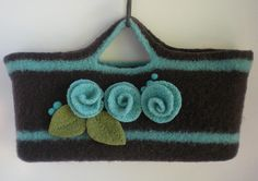 https://flic.kr/p/7gpHbp   tiffany blue and brown   Hand bag that I knit and felted