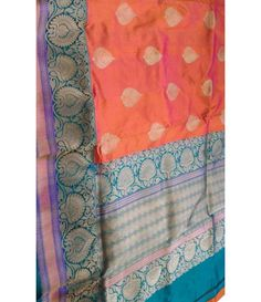 Orange Banarasi handloom Katan Silk Saree