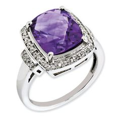 Cushion Checkerboard Cut Amethyst Diamond Sterling Silver Ring Available Exclusively at Gemologica.com