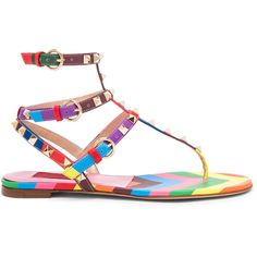 Valentino 1973 Rockstud Gladiator Leather Sandals T.05 (4.040 BRL) ❤ liked on Polyvore featuring shoes, sandals, leather footwear, gladiator shoes, leather gladiator sandals, leather shoes and leather gladiator shoes