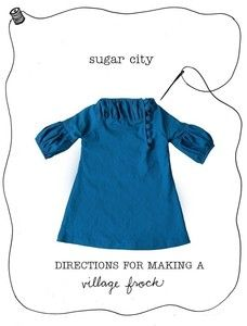 Sew your own village frock! Directions for sewing a village frock shirt as well. Sizes 2-6.