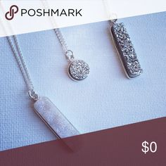✨Sparkly Sterling Silver Druzy Necklaces! ✨ Druzy bar and disc necklaces set in Sterling silver with Sterling chains. These are natural agate Druzy, not artificial. The hardware is Sterling silver, not plated, filled or silver tone. See individual listings for details. Jewelry Necklaces