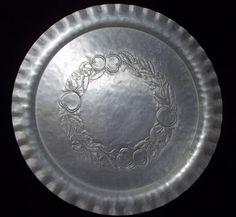 "Vintage Large 17.5"" Round Tray Hand Hammered Forged Aluminum Everlast Fruit"