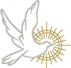Dove in Outline #2 Embroidery Design.The dove is a symbol of the Holy Spirit and is used especially in representations of our Lord's Baptism and the Pentecost. It also symbolizes the release of the soul in death, and is used to recall Noah's dove, a harbinger of hope.