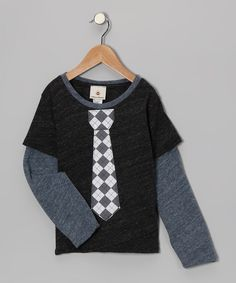 Take a look at this Million Polkadots Charcoal Argyle Tie Layered Tee - Toddler & Boys on zulily today!