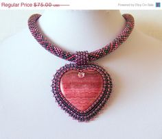 CHRISTMAS SALE Beadwork Bead Embroidery Pendant Necklace with Argentine Rhodochrosite - PINK Heart - pink - red - grey - Heart