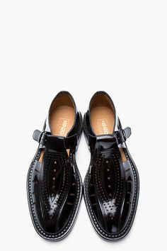 KENZO Black Patent Leather Cut-Out Houm Buckled Shoes