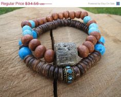 VALENTINE SALE BOHO Stacking Coconut Turquoise Raw Pyrite Bracelet, Women Bohemian Bracelet, Boho Beach Layering, Valentines Gift