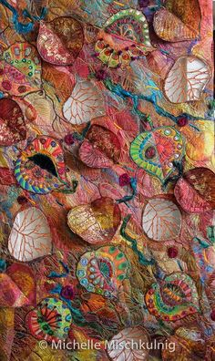 Michelle Mischkulnig Australian Textile Artist – Allegria – Colour for the Soul Chelle Textiles My textile art is an expression of my life… Art Fibres Textiles, Textile Fiber Art, Textile Artists, Fiber Art Quilts, Fabric Art, Fabric Crafts, Canvas Fabric, Diy Crafts, Creation Art
