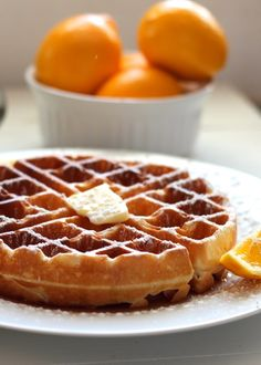 Meyer Lemon Buttermilk Waffles (made these today- so good!) used oo instead of butter and all buttermilk. Light and fluffy. Waffle Recipes, Brunch Recipes, Breakfast Recipes, Buttermilk Waffles, Pancakes And Waffles, Crepes, Meyer Lemon Recipes, Gluten Free Waffles, Yummy Food